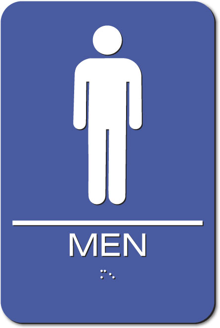 Men's Restroom Sign | Braille | Blue Acrylic