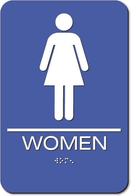 Women's Restroom Sign | Braille | Blue Acrylic