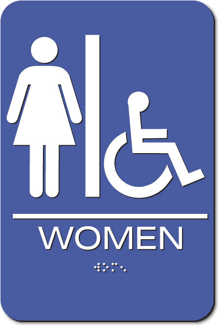 Women's Restroom Accessible Sign | Braille | Blue Acrylic