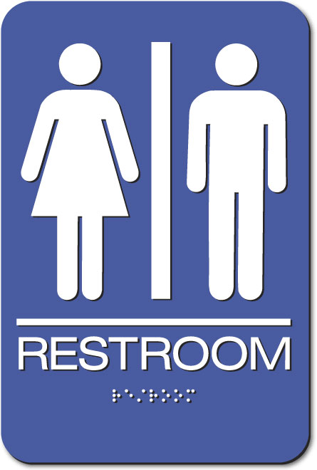 Unisex Restroom Sign | Braille | Blue Acrylic