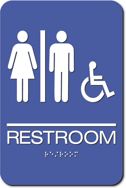 Unisex Restroom Accessible Sign | Braille | Blue Acrylic
