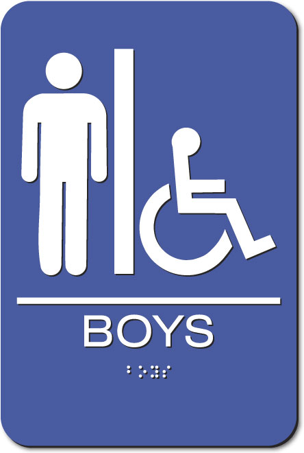 Boys Accessible Restroom Sign |White on Blue