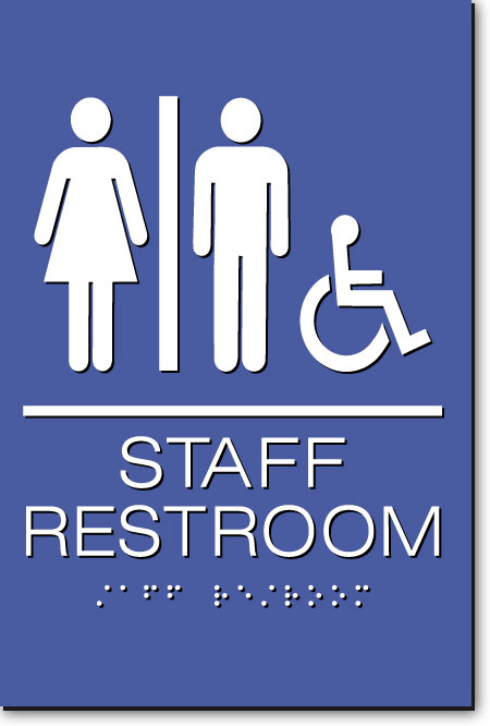 Staff Accessible Restroom Sign | White on Blue