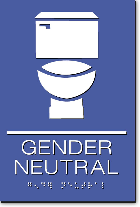 Gender Neutral Restroom Sign | White on Blue