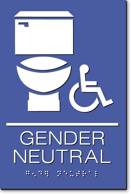 Gender Neutral Accessible Restroom Sign | White on Blue