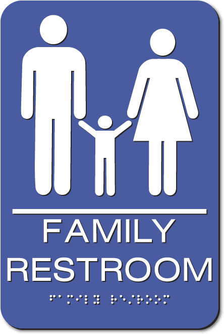 Family Restroom Sign | White on Blue