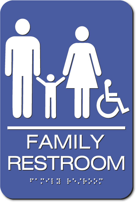 Family Accessible Restroom | White on Blue