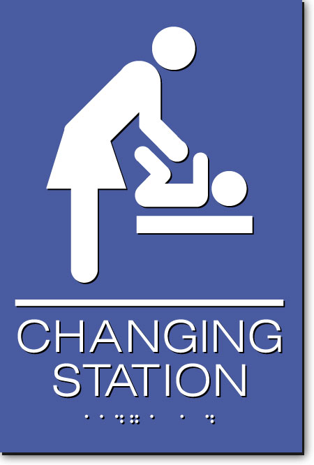 Changing Station Women's Sign | White on Blue