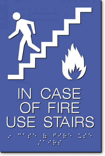 IN CASE OF FIRE USE STAIRS Sign | White on Blue