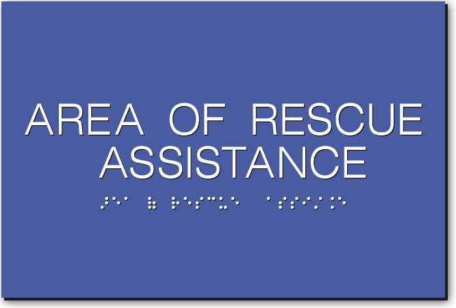 AREA OF RESCUE ASSISTANCE Sign | White on Blue
