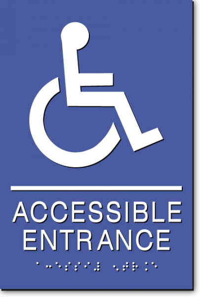 WHEELCHAIR ACCESSIBLE ENTRANCE Sign | White on Blue