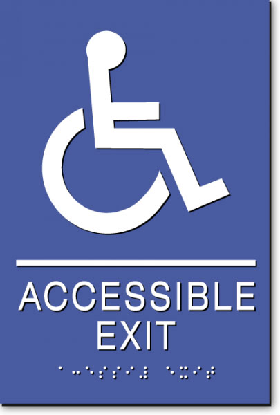 WHEELCHAIR ACCESSIBLE EXIT Sign | White on Blue