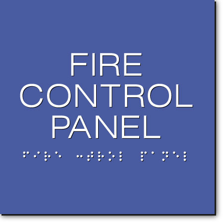 FIRE CONTROL PANEL Sign | White on Blue