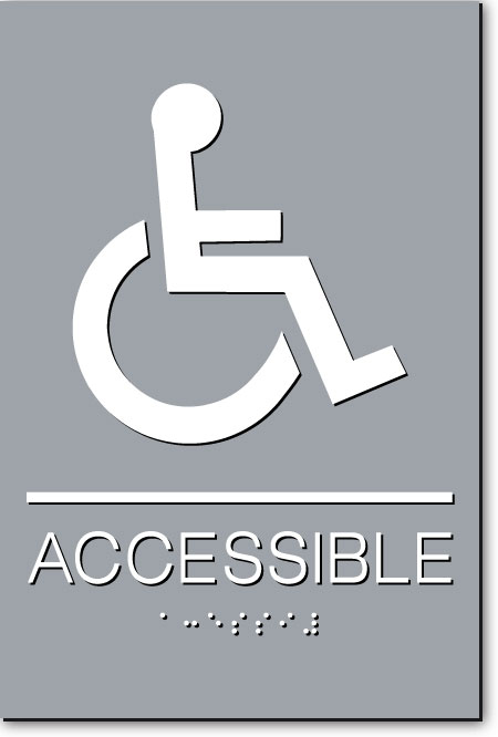 CA ACCESSIBLE Sign | White on Gray