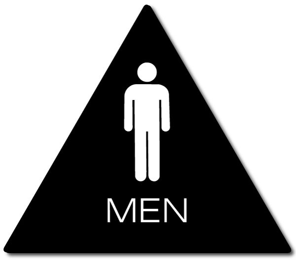 CALIFORNIA MEN Restroom Door Sign | White on Black