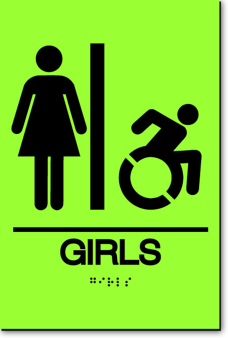 NY GIRLS ACCESSIBLE RESTROOM Sign | LaserGlow