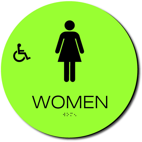 CALIFORNIA WOMEN ACCESSIBLE Restroom Door Sign | Black on LaserGlow