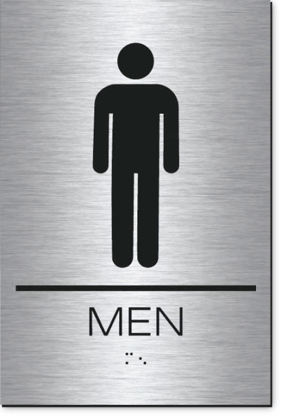 Men's Restroom Sign | Braille | Brushed Aluminum Acrylic