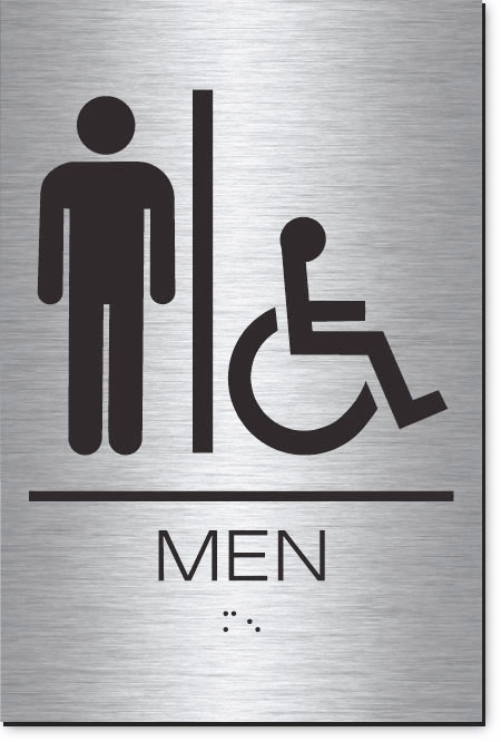 Men's Restroom Accessible Sign | Braille | Brushed Aluminum Acrylic