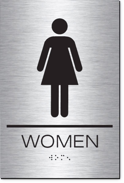 Women's Restroom Sign | Braille | Brushed Aluminum Acrylic