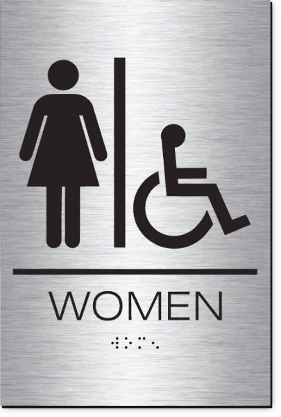 Women's Restroom Accessible Sign | Braille | Brushed Aluminum Acrylic