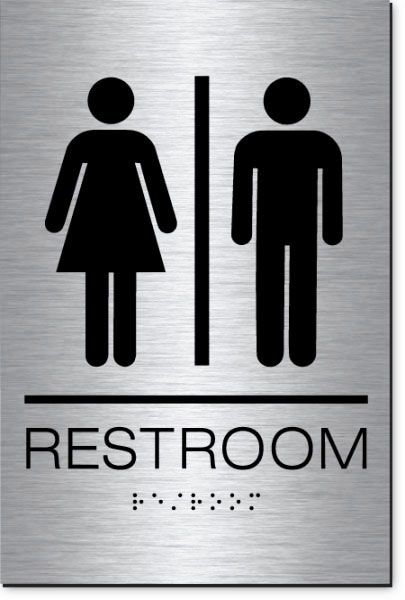 Unisex Restroom Sign | Braille | Brushed Aluminum Acrylic