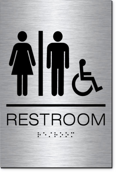 Unisex Restroom Accessible Sign | Braille | Brushed Aluminum Acrylic