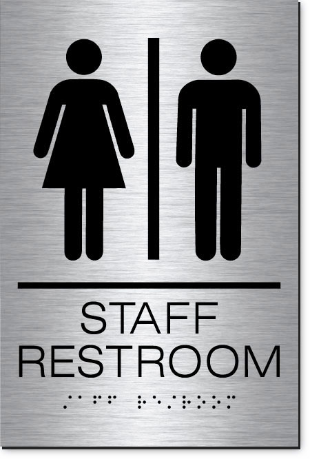 Staff Restroom Sign | MetalGraph Brushed Aluminum