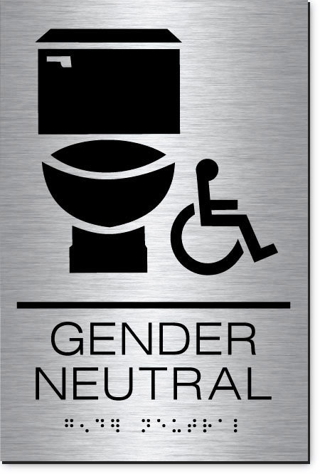 Gender Neutral Accessible Restroom Sign | MetalGraph Brushed Aluminum