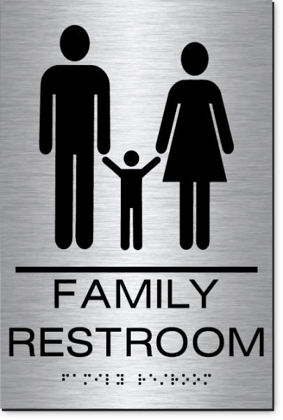 Family Restroom Sign | MetalGraph Brushed Aluminum