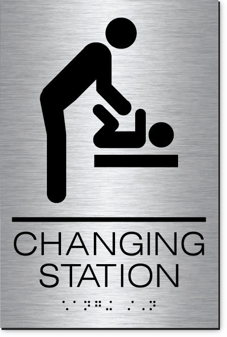 Changing Station Men's Sign | MetalGraph Brushed Aluminum