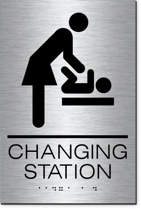 Changing Station Women's Sign | MetalGraph Brushed Aluminum