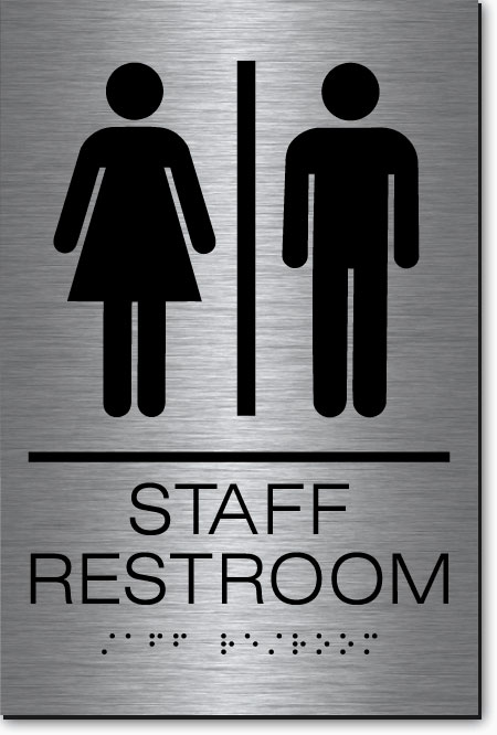 Staff restroom sign metalgraph stainless steel epms31 for Stainless steel bathroom signs