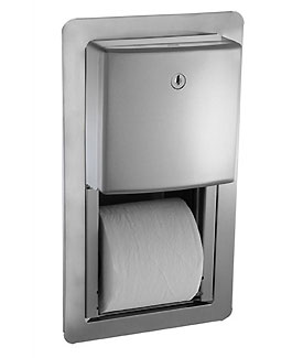 Roval Semi-Recessed Mounted Twin Hide-A-Roll Toilet Tissue Dispenser