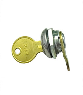 Lock, key and retaining nut for cabinets