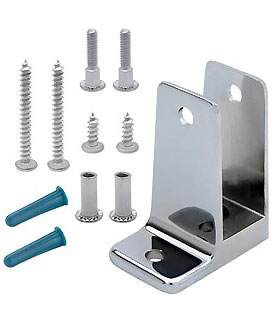 "Restroom Partition Wall Bracket (1760) 1"" One Ear & Screw Pack"