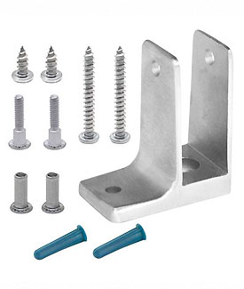 "Restroom Partition Wall Bracket (1763) 1"" One Ear & Screw Pack Stainless Steel"
