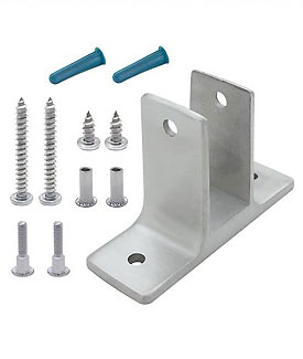 "Restroom Partition Wall Bracket (1753) 1"" Two Ear & Screw Pack Stainless Steel"