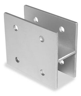 "Restroom Partition Wall Bracket H Type 1"" X 3"" Long Aluminum"