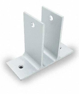 "Restroom Partition Wall Bracket Two Ear 1"" Aluminum"