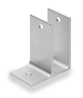 "Restroom Partition Wall Bracket One Ear 1"" Aluminum"