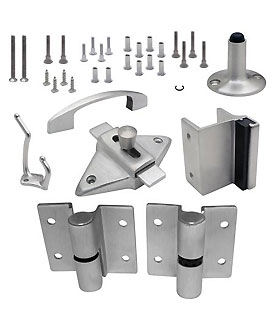 "Restroom Partition Door Hardware left hand (out swing) .125"" Stainless Steel Hinge"