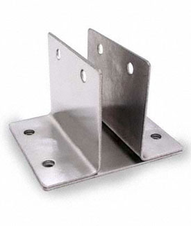 "Restroom Partition Wall Bracket Two Ear 1"" X 3"" Long CRSS"