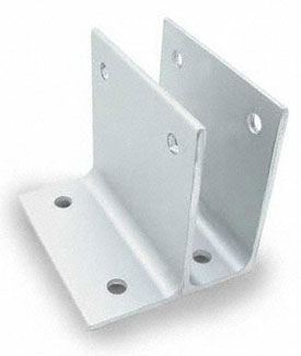 "Restroom Partition Wall Bracket One Ear 1"" X 3"" Long Aluminum"