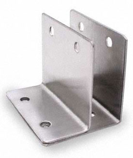 "Restroom Partition Wall Bracket One Ear 1"" X 3"" Long CRSS"