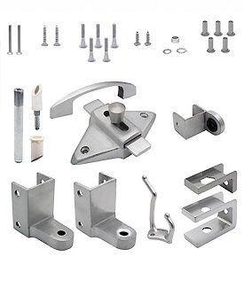 "Restroom Partition Door Hardware (out swing) 7/8"" Door 1-1/4"" Post (5973) Stainless Steel"