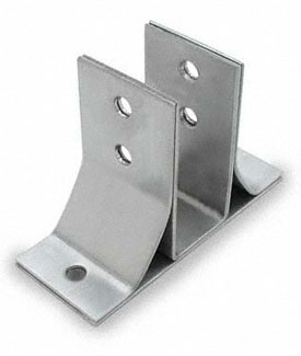 "Restroom Partition Wall Bracket Two Ear 1"" Braced CRSS"