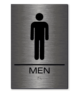 Bathroom Signs Braille epms01 men's restroom sign | braille | brushed stainless steel