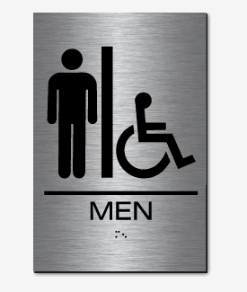 Epms02 men 39 s restroom accessible sign braille brushed stainless steel acrylic for Stainless steel bathroom signs