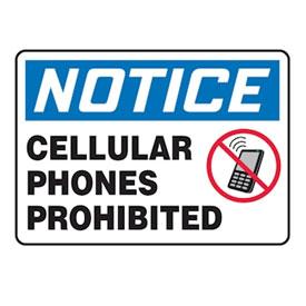 Cell Phones Prohibited Signs
